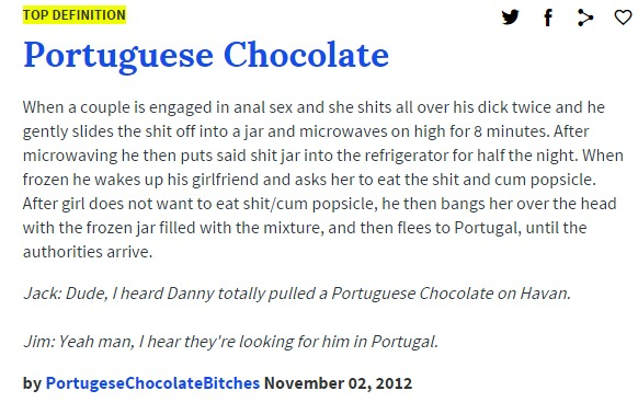 Portuguese Chocolate urban dictionary