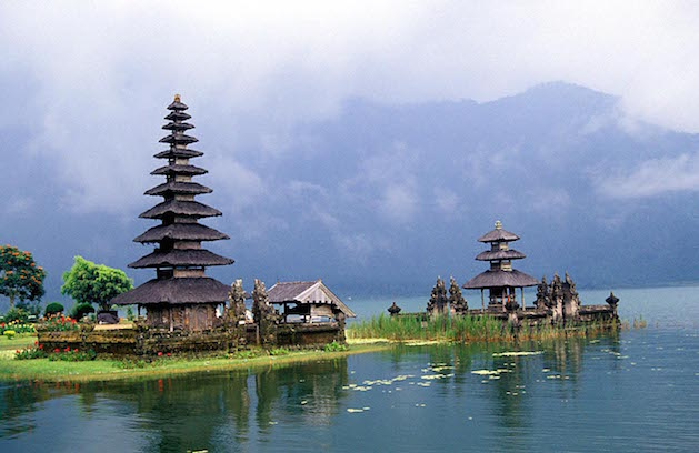 temples in bali on lake