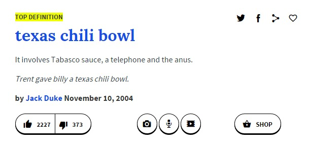 texas chili bowl urban dictionary