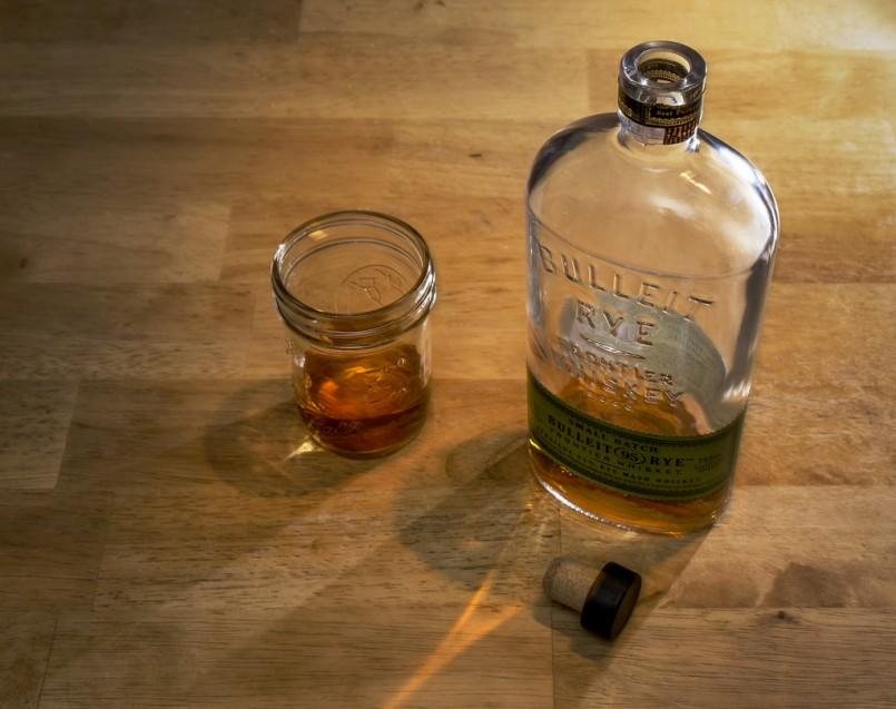 bulleit whiskey bottle