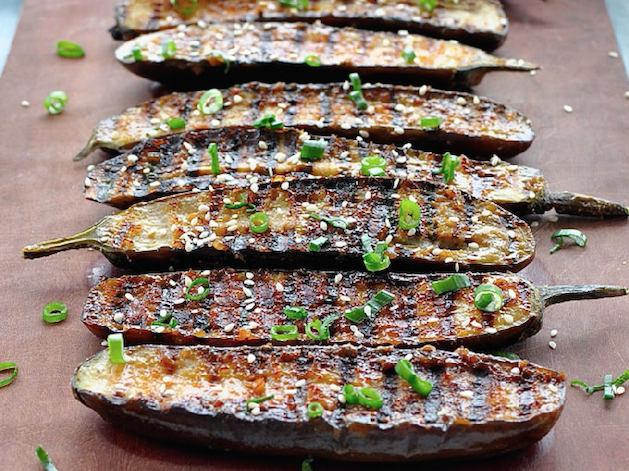 grilled eggplant with scallions