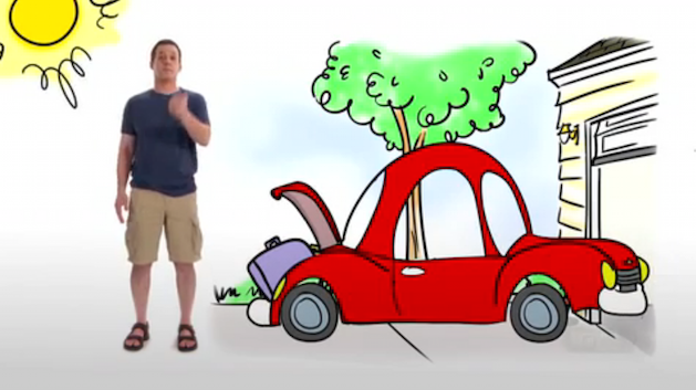 man standing by animated car