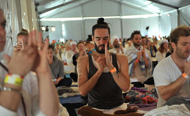 russell brand doing yoga