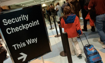 security checkpoint sign at airport