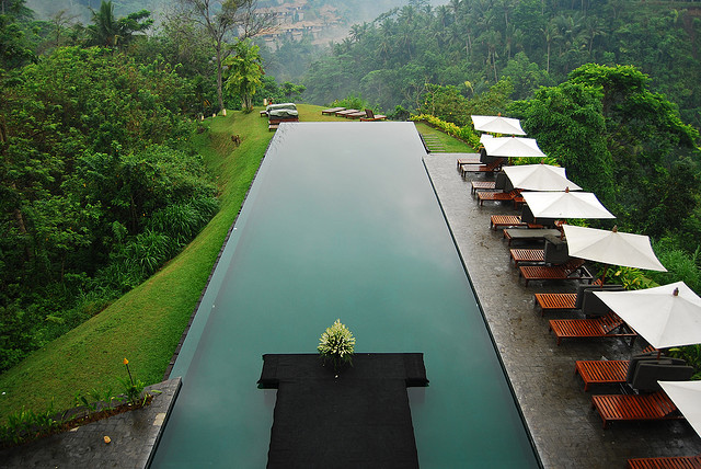 Infinity Pool surrounded by mountain forests