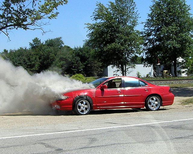 Goshen Burning Car