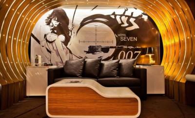 james bond themed hotel room