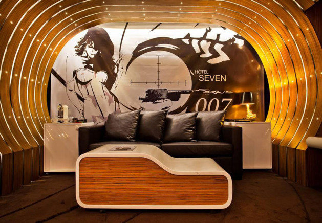 james bond themed hotel room