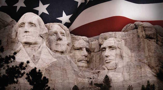 mount rushmore american flag