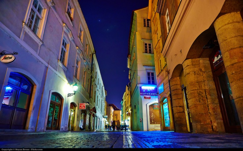 Prague street at night