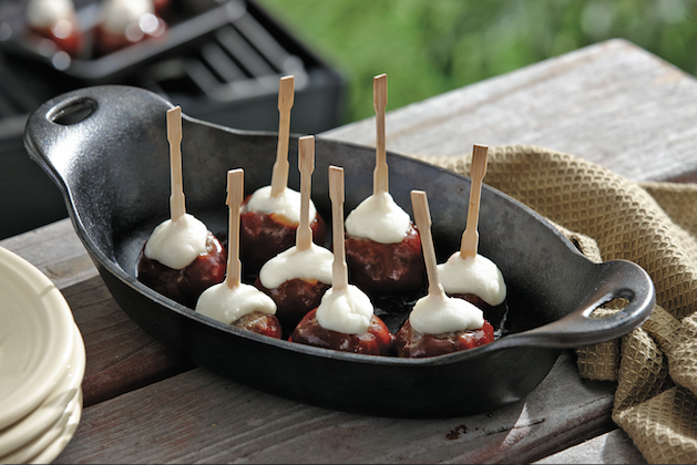 Barbecue Meatball Skewers with Mozzarella