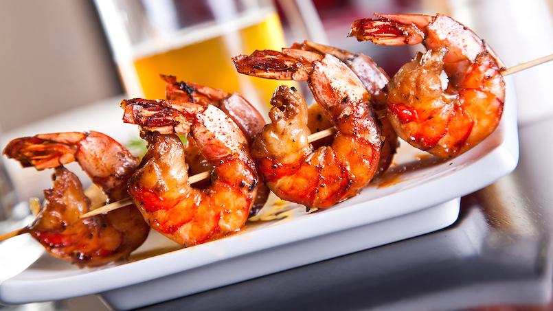 grilled skewered shrimp