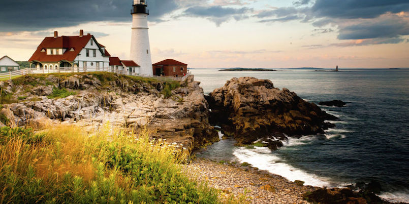 lighthouse on rocky seashore