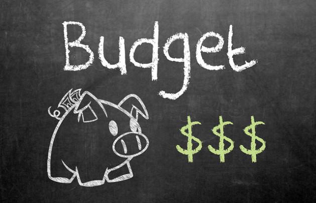 Budget written on blackboard with piggy bank