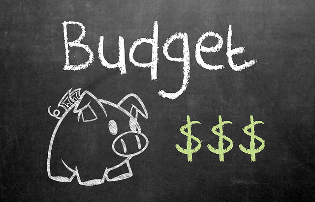 Budget written on blackboard with piggy bank