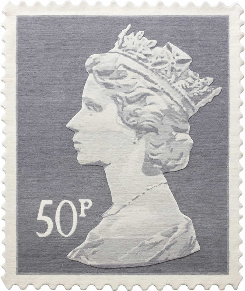 50p stamp with queen elizabeth