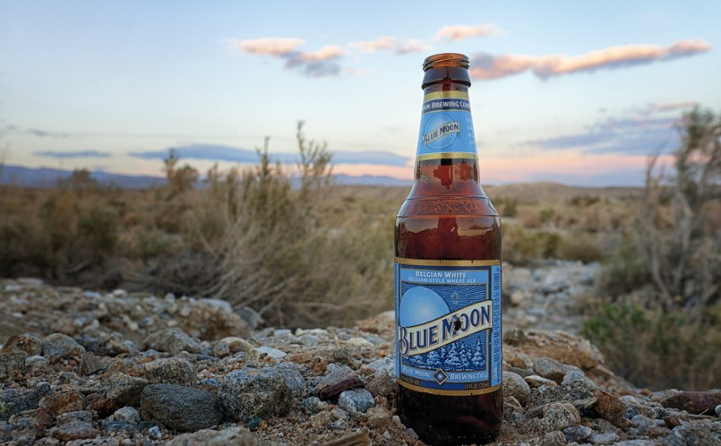 bottle of Blue Moon beer on rock during sunset