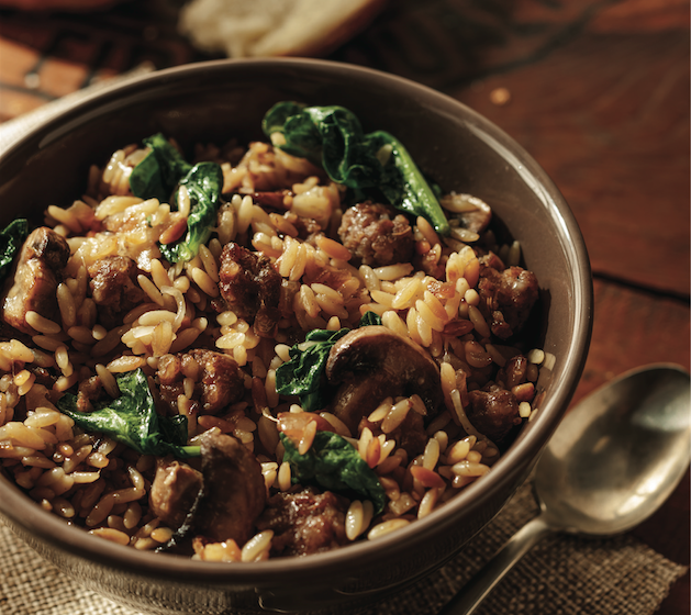 Orzo with Italian Sausage, Mushrooms and Spinach