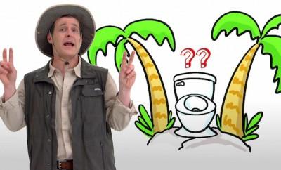 cartoon toilet betwee palm trees