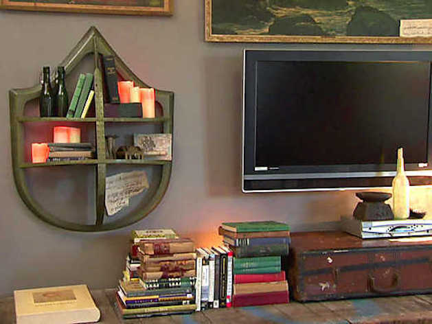 Recyled goods and antiques are used to decorate the room.