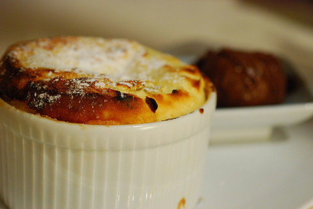 Soufflé in white corning ware dish