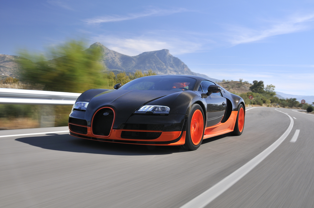 The Bugatti Veyron Super Sport the World's Fastest Production Car on show and driven on September 19 2010 on the mountain roads around Jerez Spain organized by Bugatti
