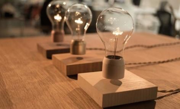 floating lightbulbs