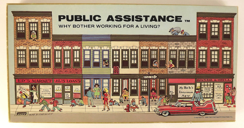 public assistance board game box