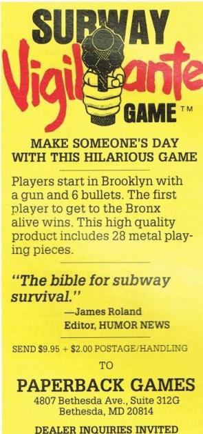 subway vigilante board game