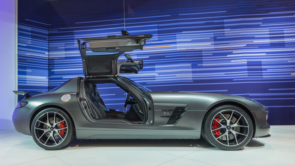 A 2014 Mercedes SLS AMG GT Final Edition car at the Chicago Auto Show