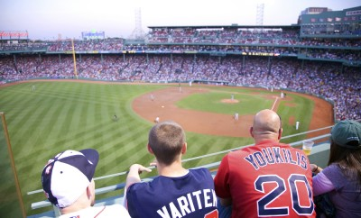 Boston Red Sox baseball crowd watches game at historic Fenway Park