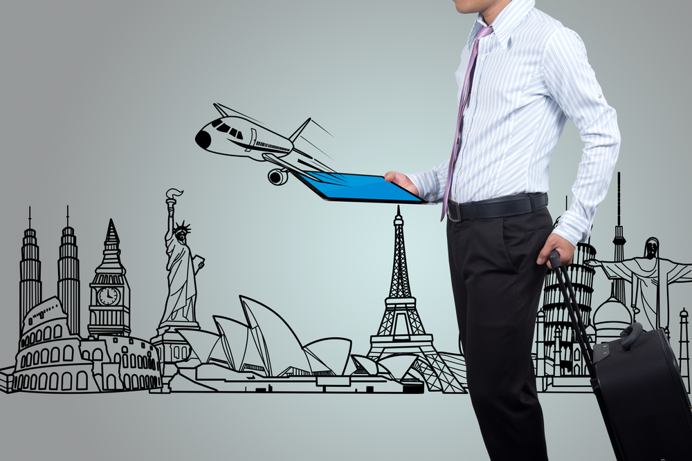 Business people to travel around the world