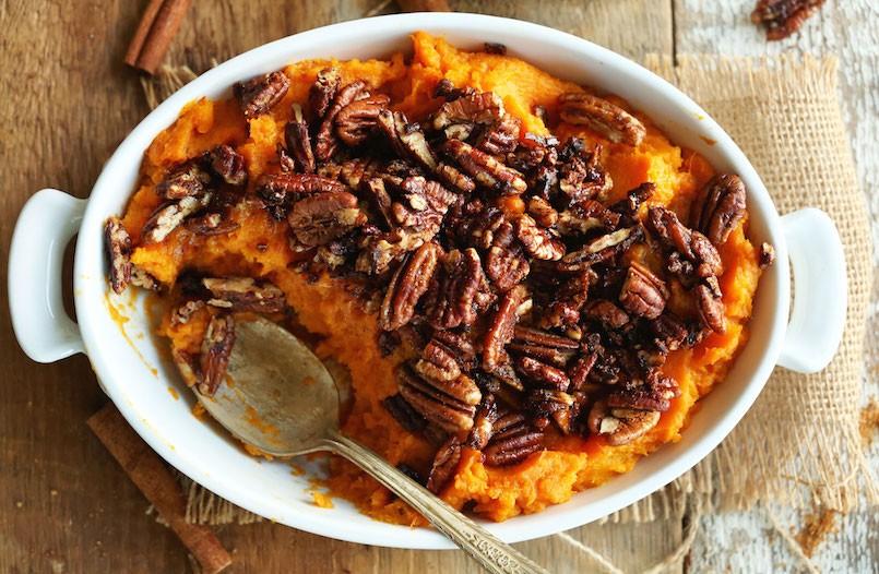 butternut squash sweet potato mash with maple cinnamon pecans