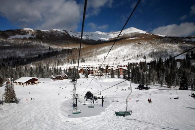 Skiing resort in sunshine day, Solitude, Utah