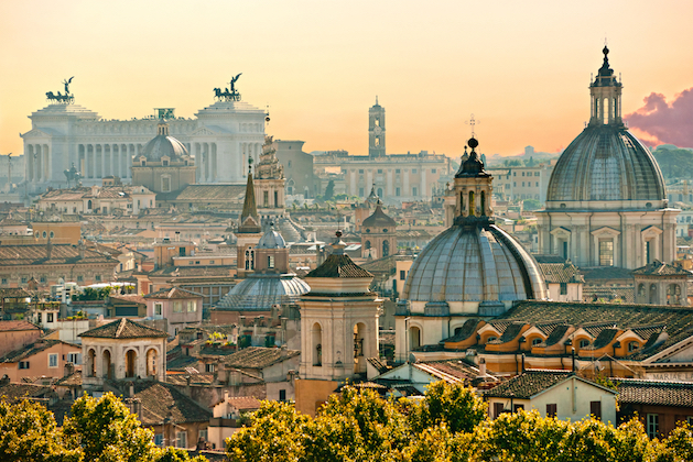 View of Rome from Castel Sant Angelo Italy