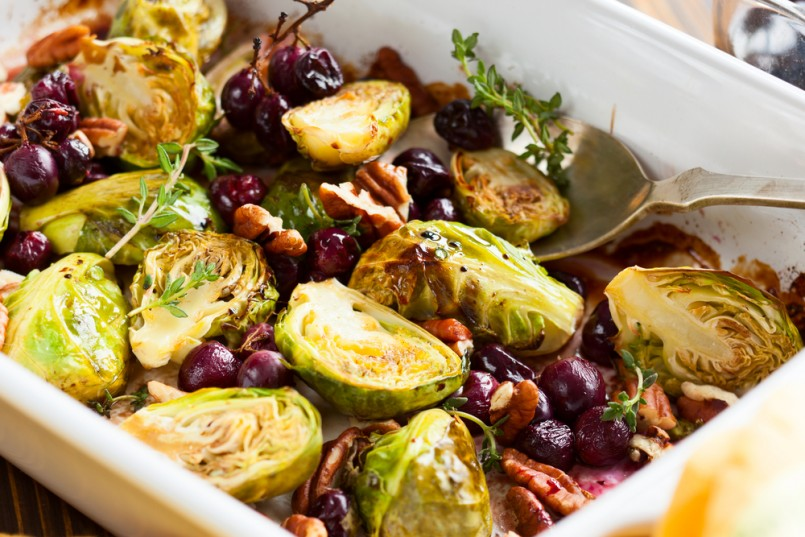 roasted brussels sprouts with grapes, nuts and balsamic vinegar