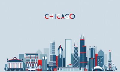 Chicago (United States) city skyline vector background. Flat trendy illustration