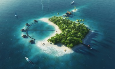 Private island. Paradise tropical island with wind turbines energy and bungalows