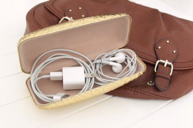 glasses case with wires and headphones