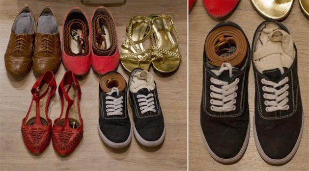 shoes stuffed with belts and other items
