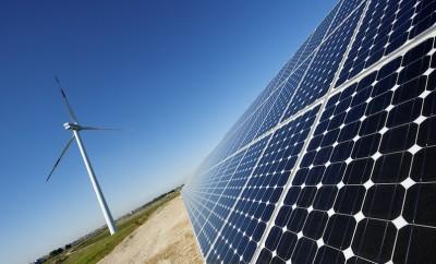 solar panels under a blue summer sky