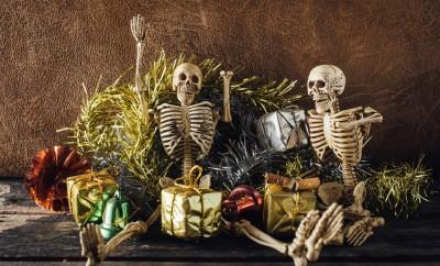 still life of skeleton party