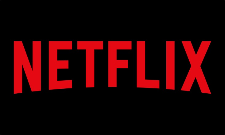 Netflix logo in red on black background