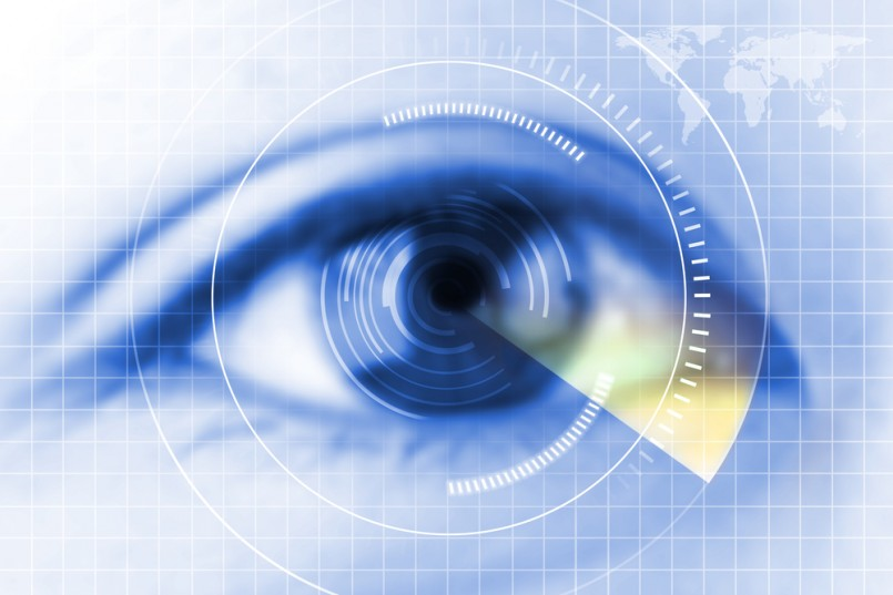 Close Up Blue Eye The Future Cataract Protection Scan Contact Lens