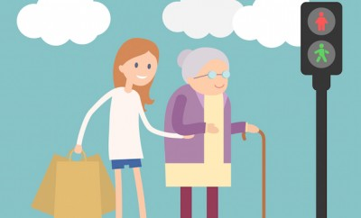Girl helps old lady crossing road. Flat illustration about people kindness