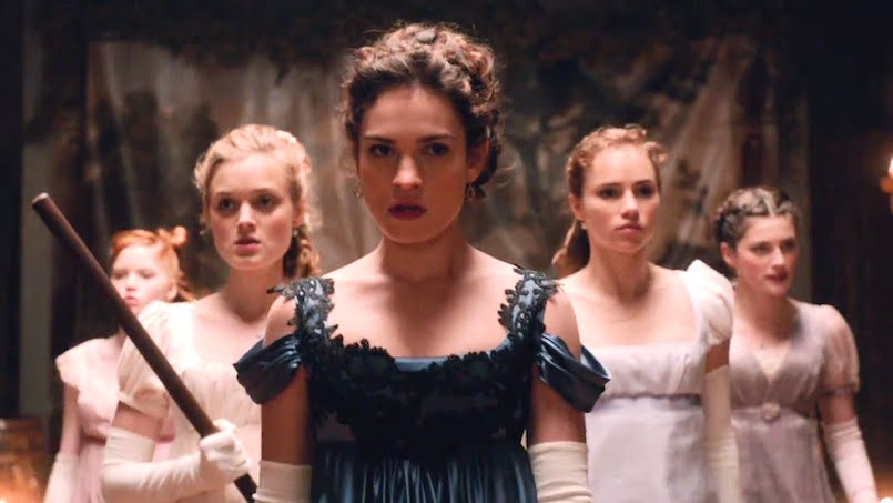 women standing in period costume for price and prejudice and zombies
