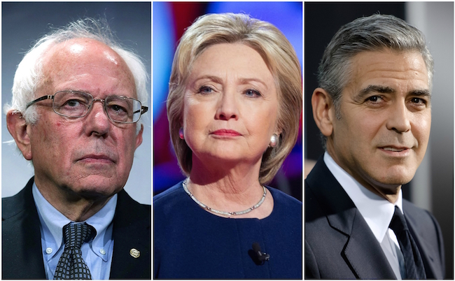 bernie sanders hillary clinton george clooney collage picture
