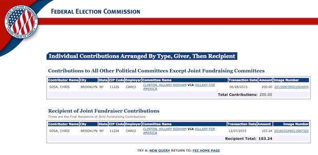 FEC donation record for Chris Sosa