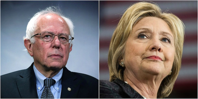 hillary clinton and bernie sanders side by side