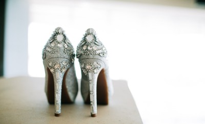 Silver Wedding High Heels on Table Illuminated
